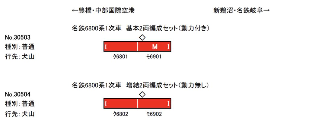 グリーンマックス GREENMAX 30503 30504 名鉄6800系1次車