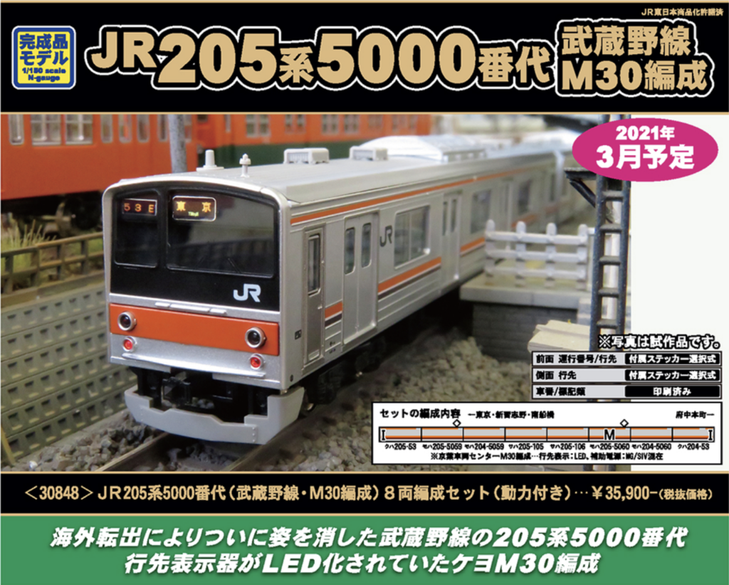 GREENMAX グリーンマックス 30848 JR205系5000番代(武蔵野線・M30編成) 8両編成セット(動力付き)
