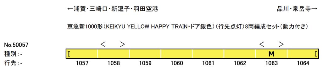グリーンマックス GREENMAX 50057 京急新1000形(KEIKYU YELLOW HAPPY TRAIN・ドア銀色) (行先点灯)8両編成セット(動力付き)
