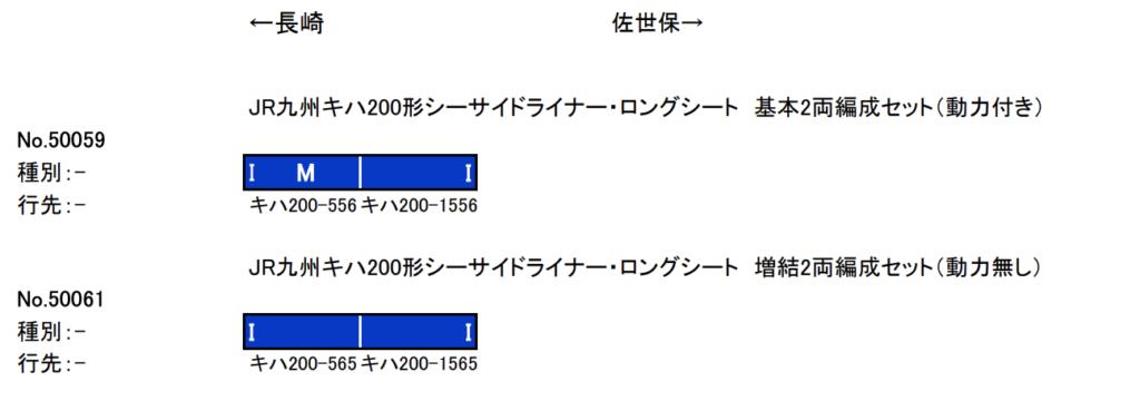 GREENMAX グリーンマックス 50059 50061 JR九州キハ200形シーサイドライナー・ロングシート