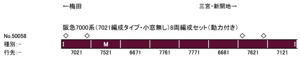 グリーンマックス GREENMAX 50058 阪急7000系(7021編成タイプ・小窓無し)8両編成セット(動力付き)