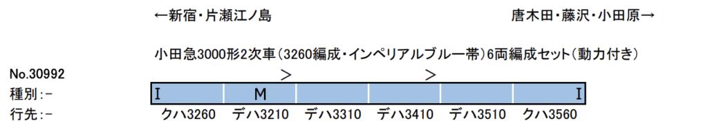 GREENMAX グリーンマックス 30992 小田急3000形2次車(3260編成・インペリアルブルー帯)6両編成セット(動力付 き)
