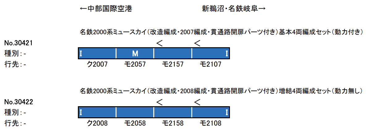 グリーンマックス GREENMAX 30421 名鉄2000系ミュースカイ(改造編成・2007編成・貫通路開扉パーツ付き)