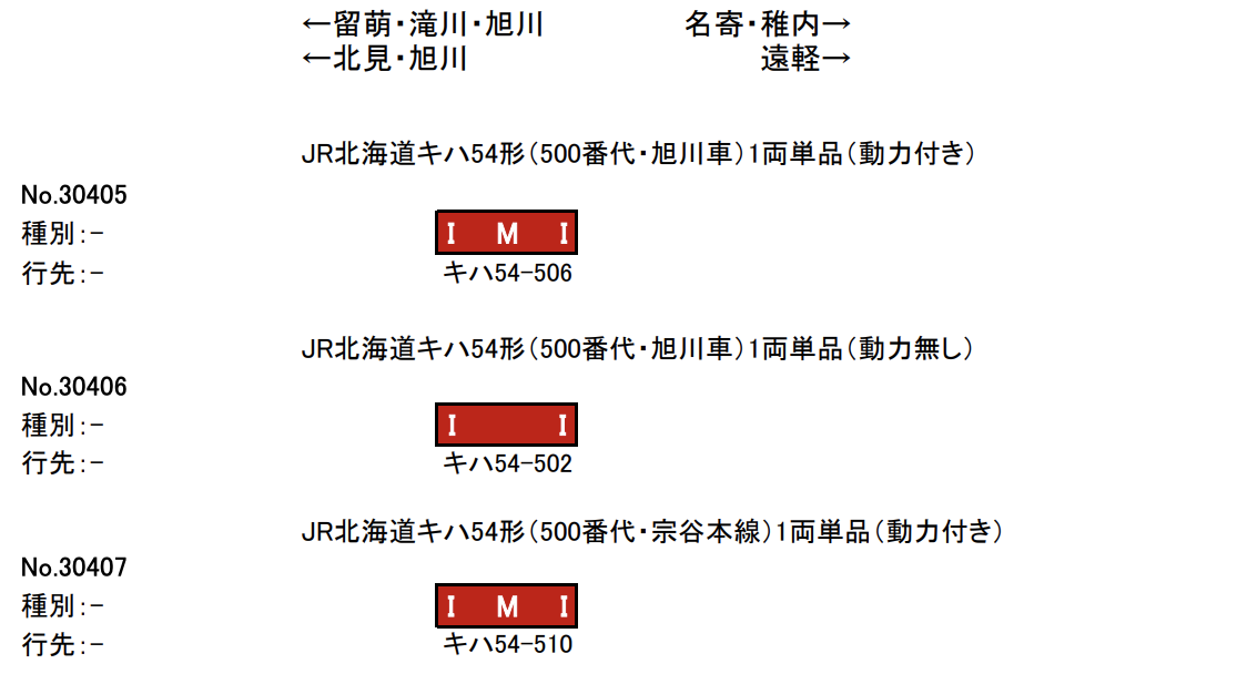 GREENMAX グリーンマックス 30405 30406 30407 JR北海道キハ54形500番代