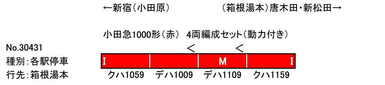 グリーンマックス GREENMAX 30431 小田急1000形(赤) 4両編成セット(動力付き)