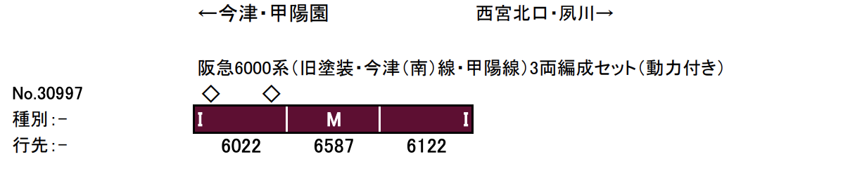 GREENMAX グリーンマックス 30997 阪急6000系(旧塗装・今津(南)線・甲陽線)3両編成セット(動力付き)