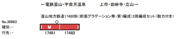 GREENMAX グリーンマックス 30983 富山地方鉄道17480形(前面グラデーション帯・第1編成)2両編成セット(動力付き)