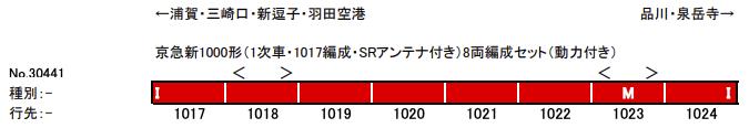 グリーンマックス GREENMAX 30441 京急新1000形(1次車・1017編成・SRアンテナ付き)8両編成セット(動力付き)
