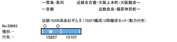 GREENMAX グリーンマックス 50693 近鉄15200系あおぞらⅡ(15207編成)2両編成セット(動力付き)