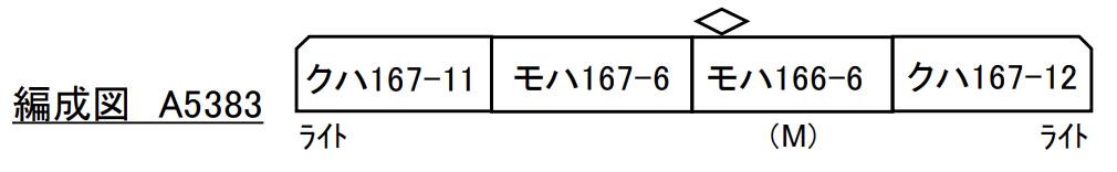 MICROACE マイクロエース A5383 167系 田町アコモ色 「鉄仮面」 4両セット